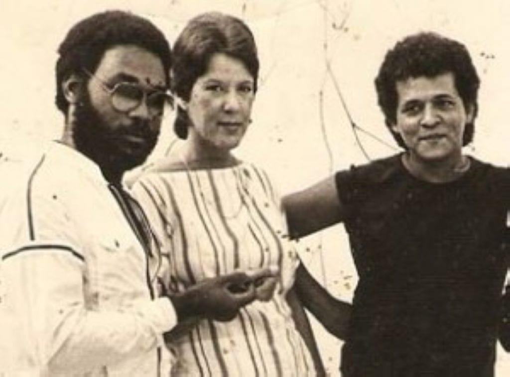 Lucía Huergo (al centro) en los años gloriosos del grupo Síntesis.